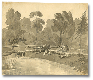Dessin : Playter's bridge near York, 6 juin, [vers 1796] (détail)