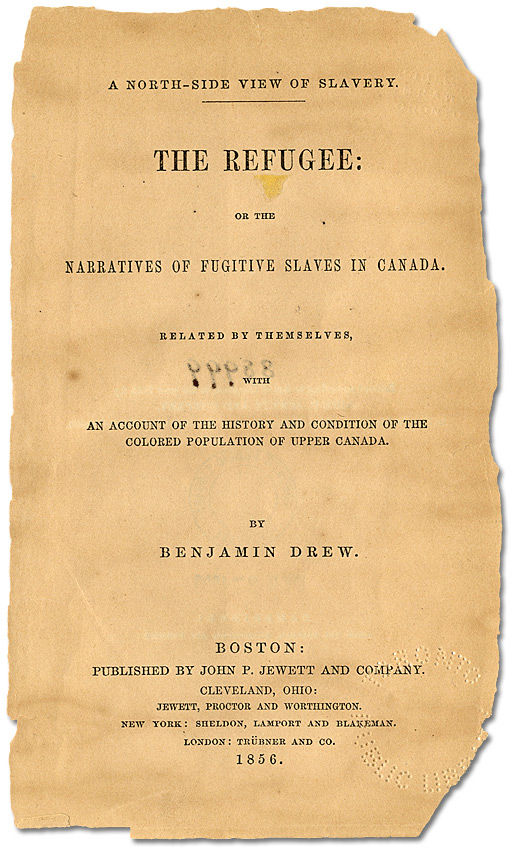 Page titre, Benjamin Drew, A North-Side view of slavery