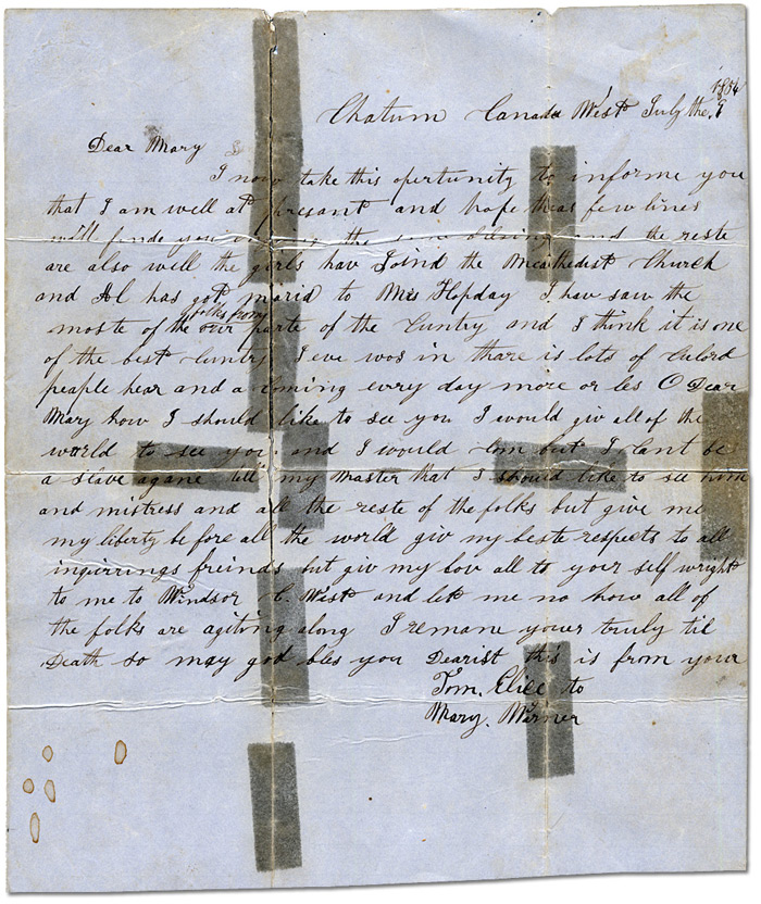Letter from Tom Elice to Mary Warner dated July 9, 1854
