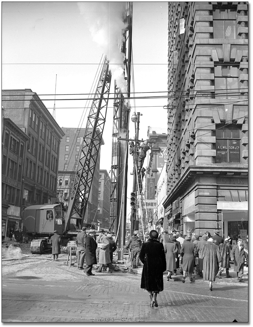 Construction of Yonge Street subway [at Yonge and Adelaide streets], November 8, 1949