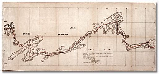 A True Map of Part of the Survey under the 7th Article of the Treaty of Ghent by Order of the Commissioner, No. 3, Gunflint Lake to Crooked Lake