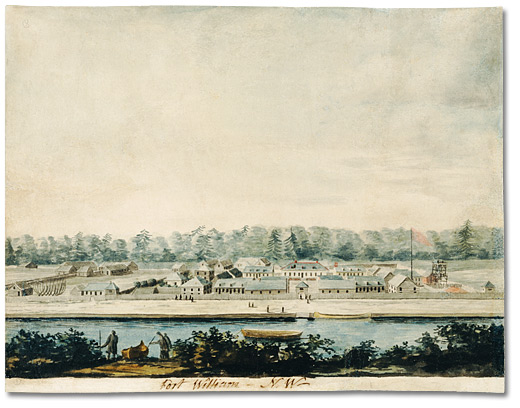 Watercolour: Fort William, an establishment of the North West Company, on Lake Superior, [ca. 1811]