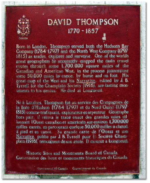 Plaque: David Thompson 1770-1857
