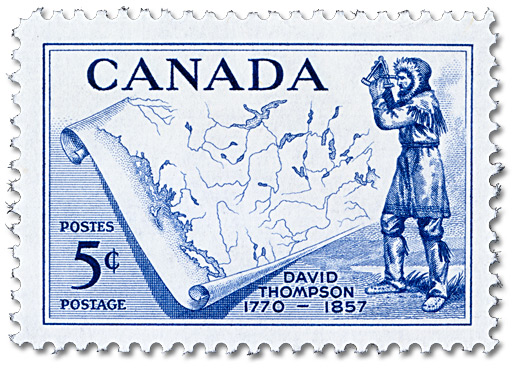 Stamp: David Thompson (1770-1857), issued 5 June 1957