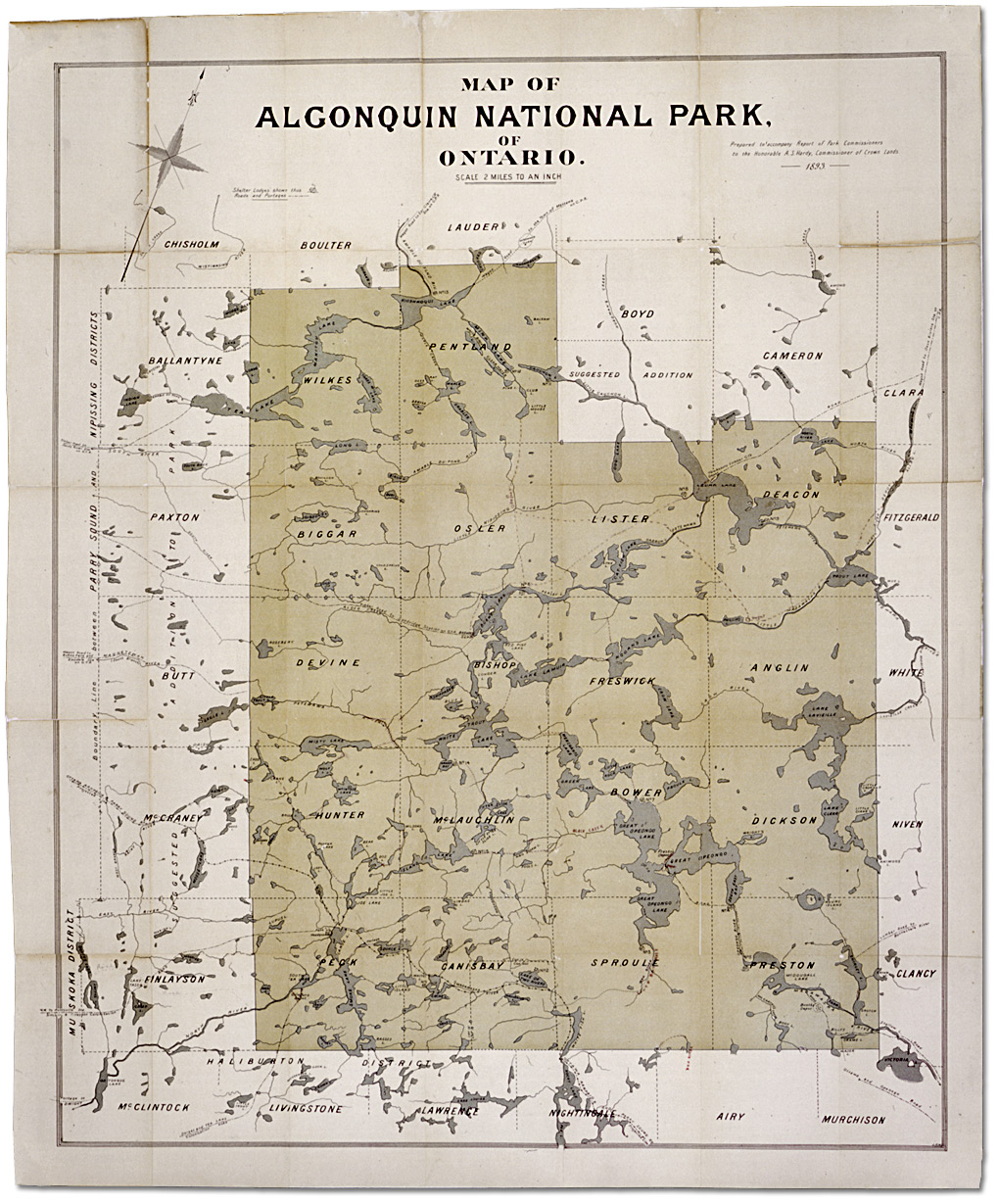 Map of Algonquin National Park of Ontario
