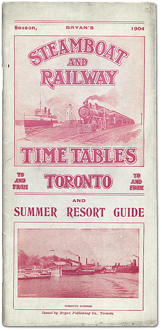 Brochure : Steamboat and Railway Timetables, Toronto, 1904