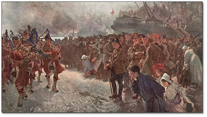 The Landing of the First Canadian Division at St. Nazaire, 1915 (détail)
