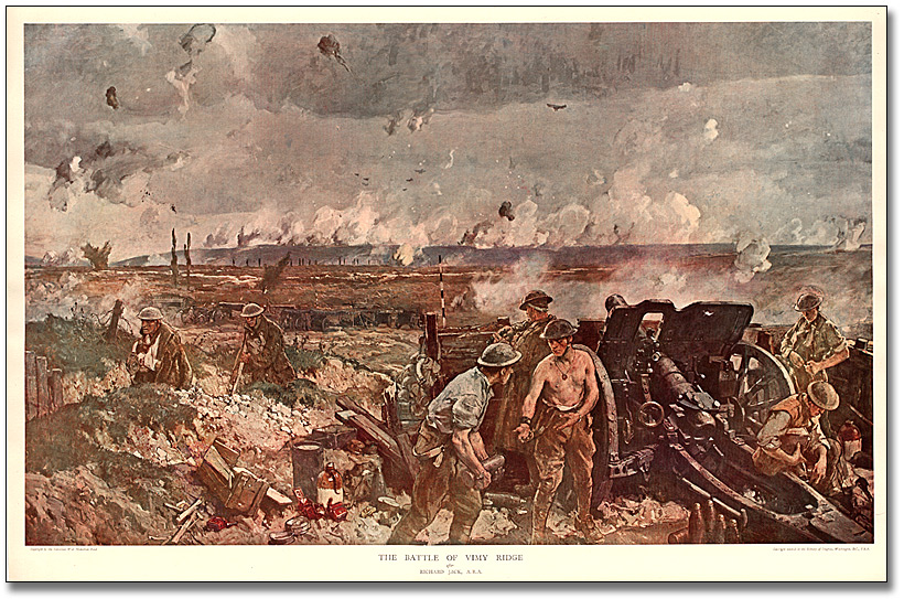 The Battle of Vimy Ridge, [vers 1917] d'après Richard Jack, A.R.A.
