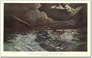 The Night Patrol - Canadian M.L. boats entering Dover After Julius Olsson, A.R.A.