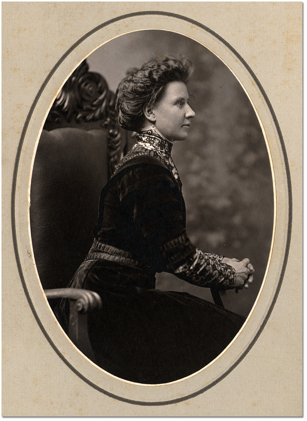 Portrait of an unidentified woman seated in a chair, [between 1900 and 1920]