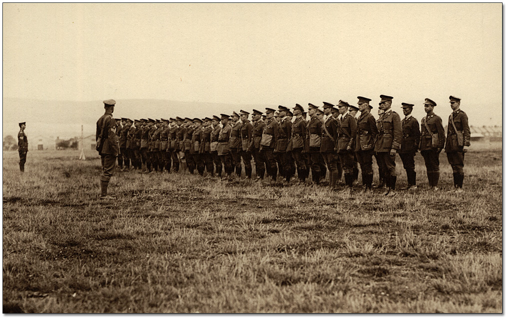 Group of soldiers standing at attention,[ca. 1918]