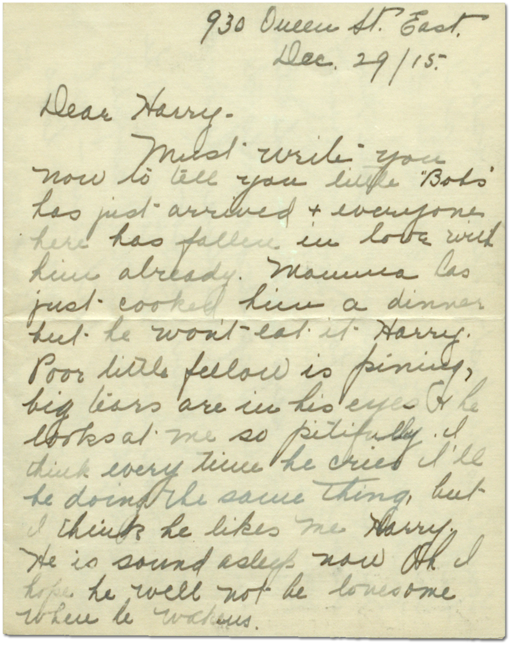 Letter from Sadie Arbuckle to Harry Mason, December 29, 1915