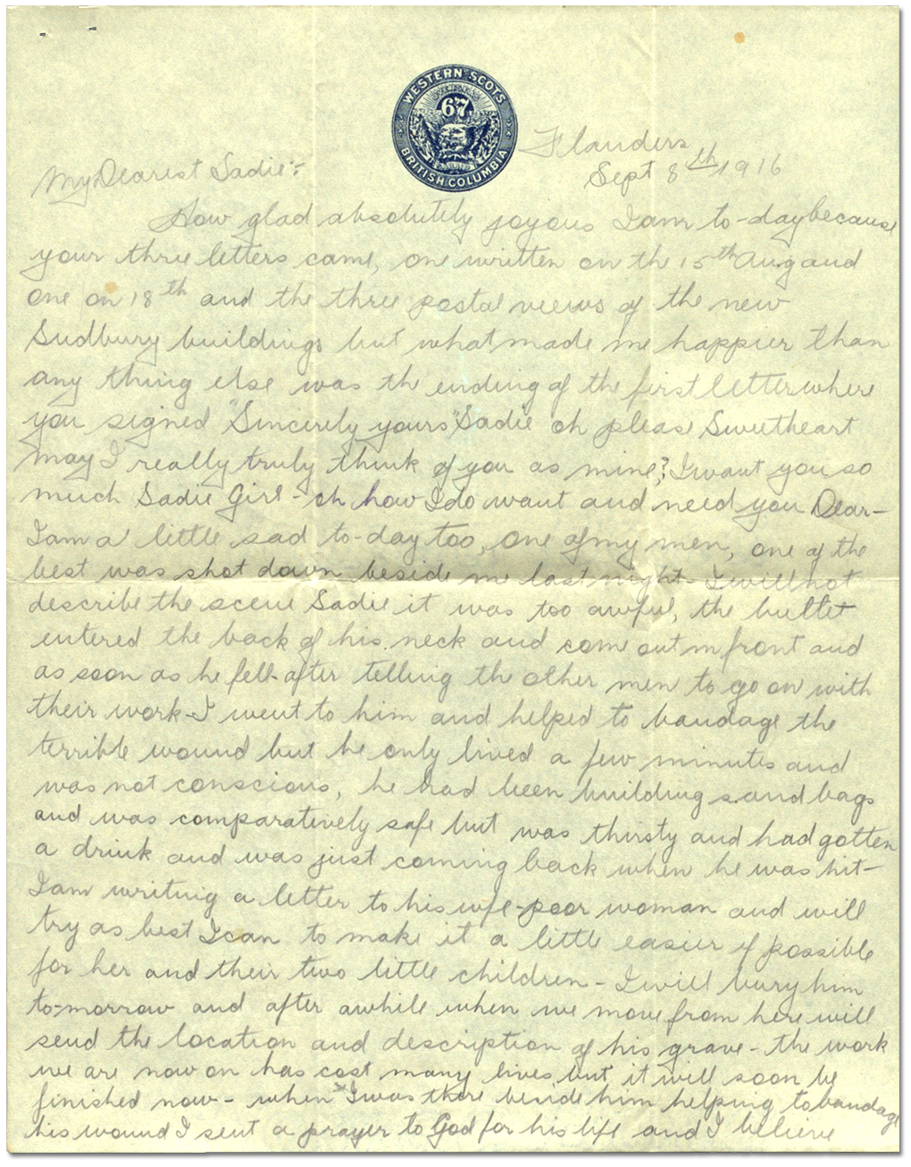 Letter from Harry Mason to Sadie Arbuckle, September 8, 1916