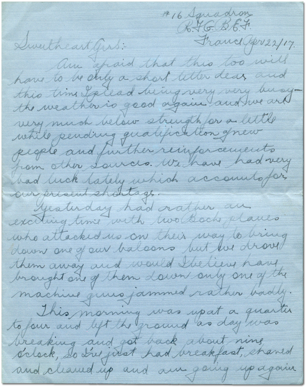 Letter from Harry Mason to Sadie Arbuckle, April 22, 1917