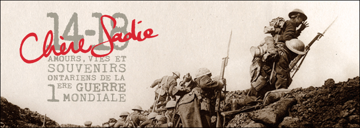 Dear Sadie – Love, Lives & Remembrance from Ontario's First World War - Page Banner