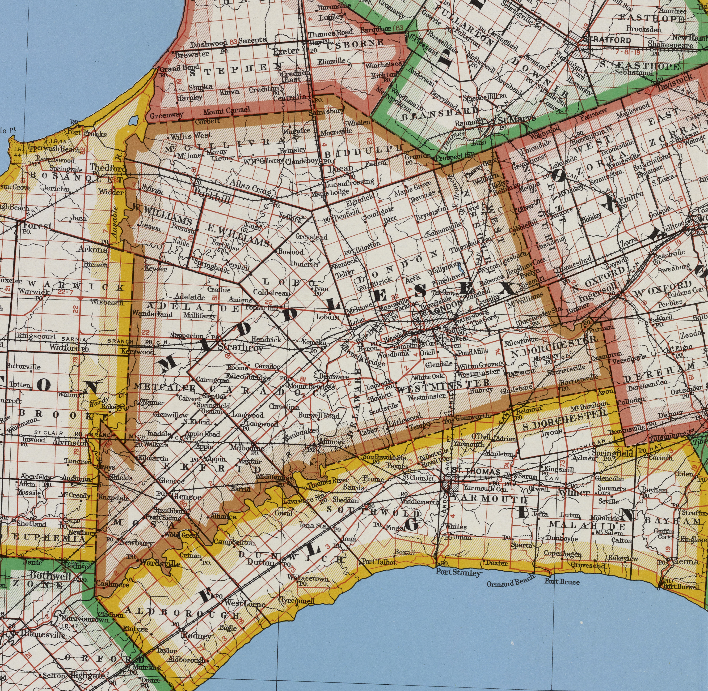 middlesex maps ontario