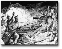 Thumbnail of a detail of a Pen and Ink illustration of the Battle of Lundy's Lane