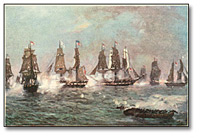 Thumbnail of a detail of painting of a naval engagement during the War of 1812