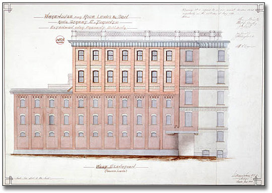 Watercolour: Rice Lewis Warehouse, King and Victoria front elevation, 1886-1891