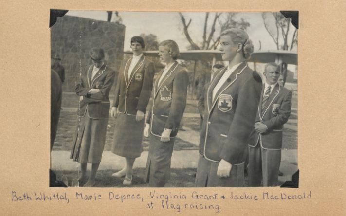 [Jackie and her teammates during the flag raising at the Pan-American Games], 1955