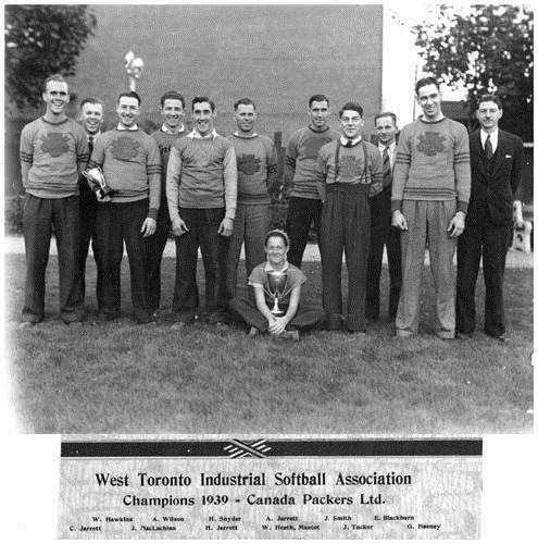 Canada Packers team portrait as West Toronto Industrial Softball League Champions, 1939