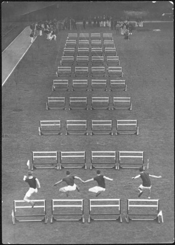 Hurdle race, with unidentified Penman family member third from the right, 1929