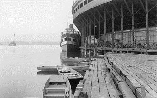 S.S. Jasmine in the shadow of the baseball stadium at Hanlan's Point, Toronto Island, August 12, 1927