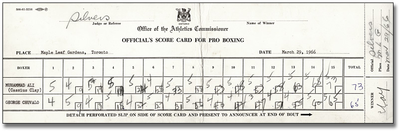 Official Judge's Score Card for Muhammad Ali - George ...
