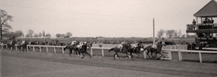 Horse racing at the old Woodbine racetrack, 1941 banner