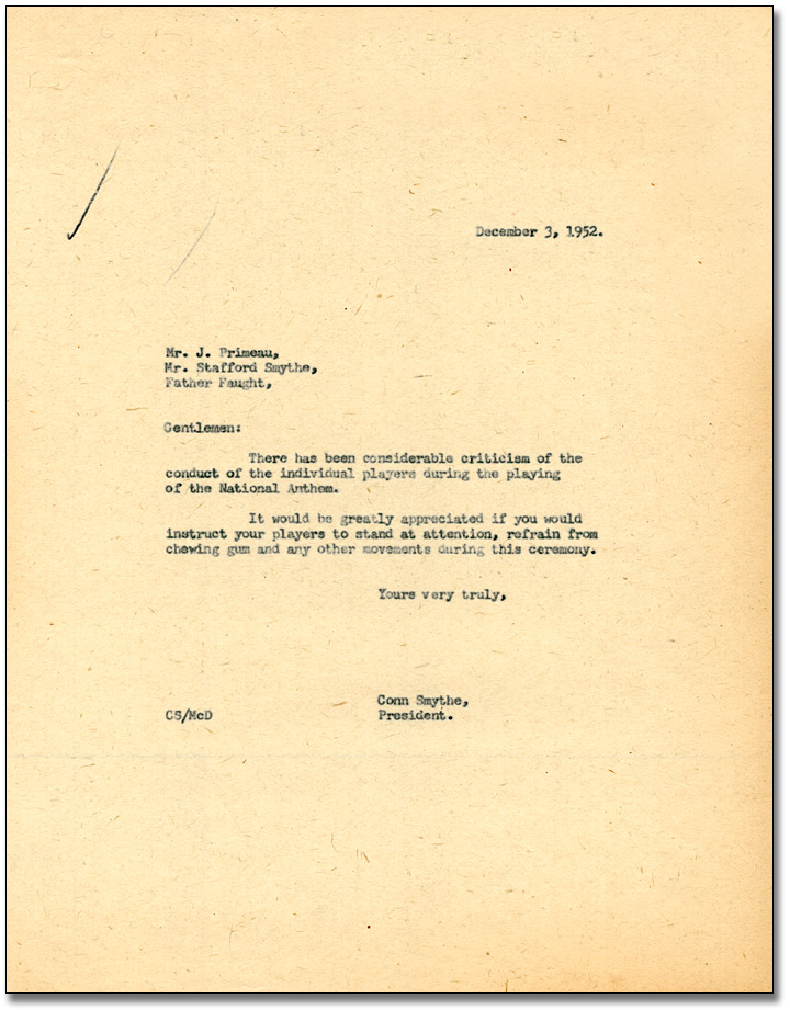 Memo from Conn Smythe directing coaches to prohibit the chewing of gum during the national anthem, December 3, 1952