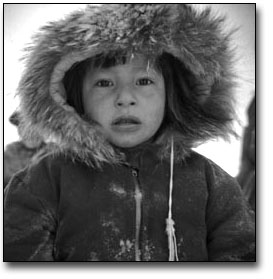 Black and photograph of Aboriginal Child looking towards camera