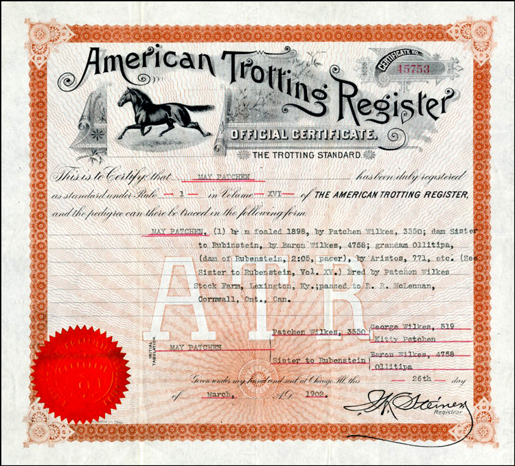 Certificat officiel de l'American Trotting Register de May Patchen, 26 mars 1902