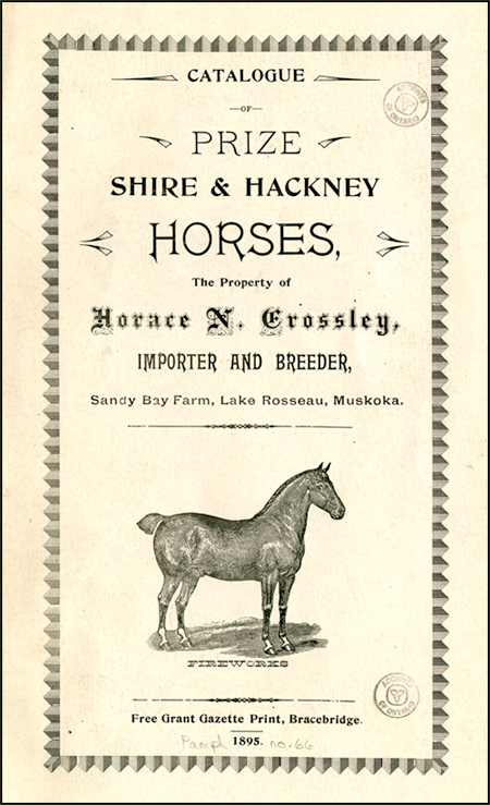 Catalogue of Prize Shire & Hackney Horses, 1895