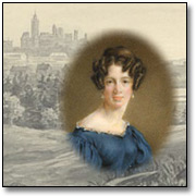 Montage graphic of a self-portrait Anne Langton painted on ivory combined with a sketch of the skyline of Ottawa