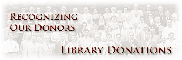 Recognizing Our Donors: Library Donations - Page Banner