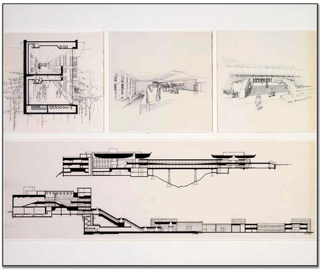 Ontario Science Centre presentation panel, 4 architectural drawings, ink on tissue, ca. 1964
