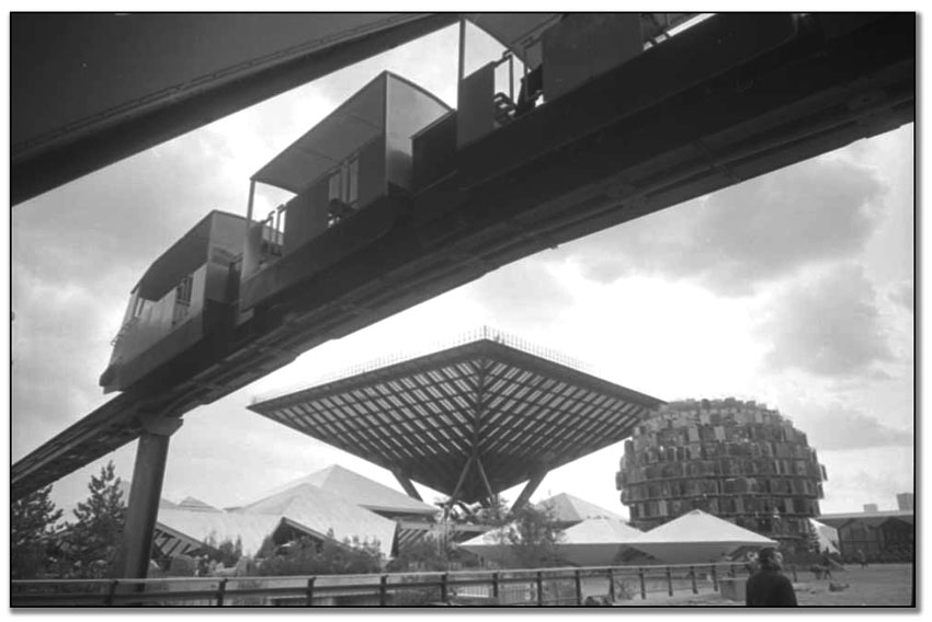 Exterior view of Canadian Pavilion at Expo 67, April 24, 1967 (67114-34)