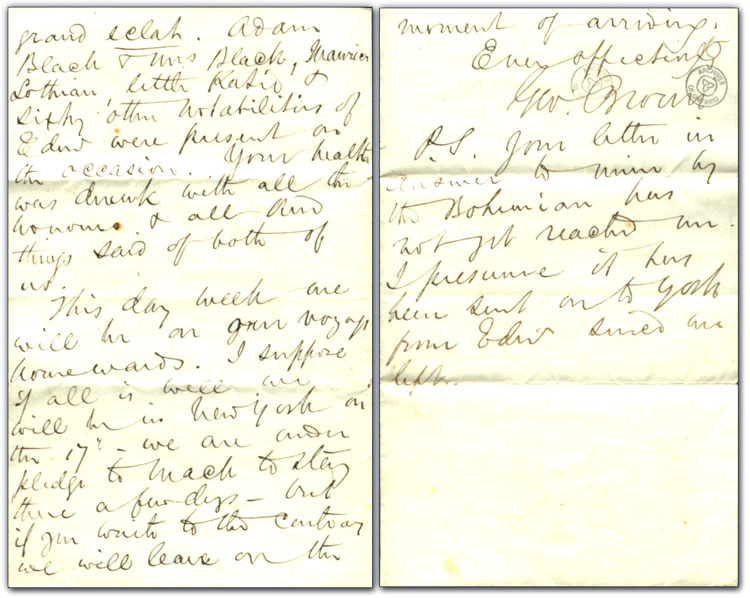 Letter from George Brown to Peter Brown (George's father), 29 November 1862
