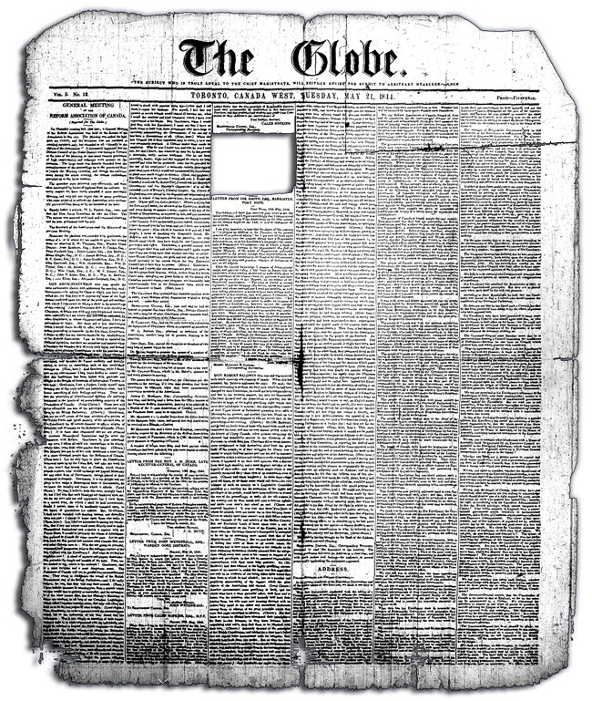 Front page of The Globe, 21 May 1844