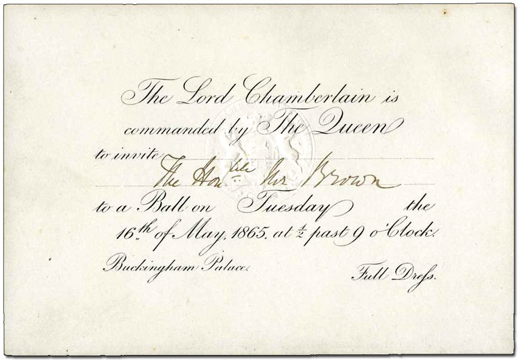 Royal invitation to George Brown, 8 May 1865