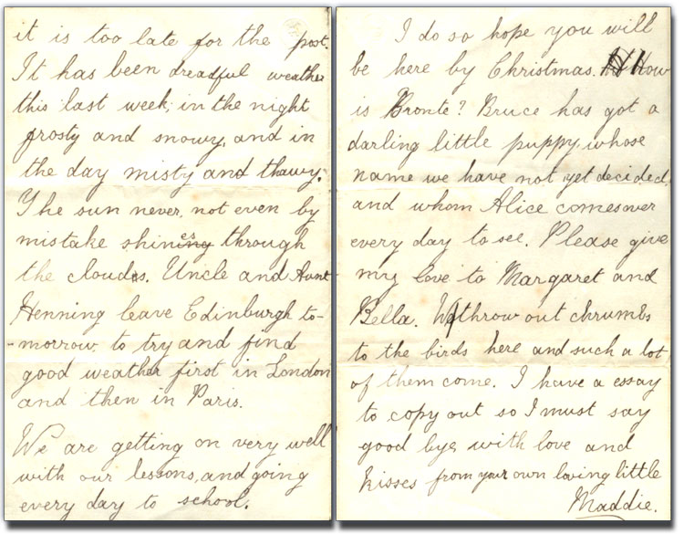 Lettre de Margaret « Maggie » Brown à George Brown, 1 décembre 1875