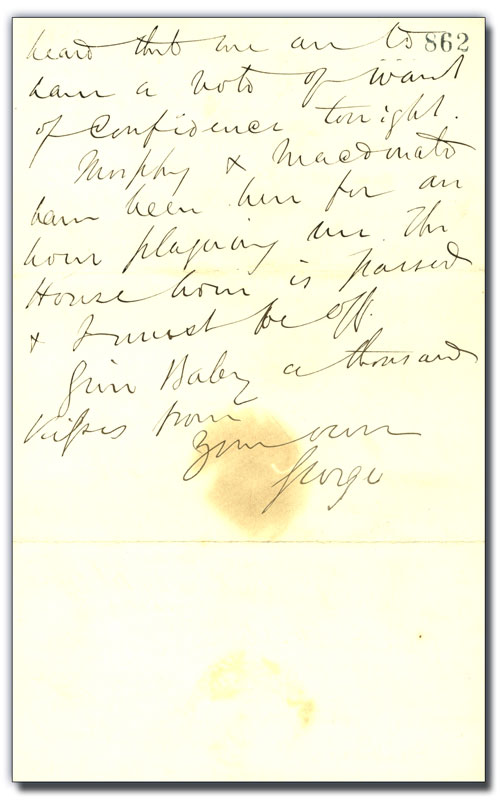 Lettre de George Brown à Anne Brown,