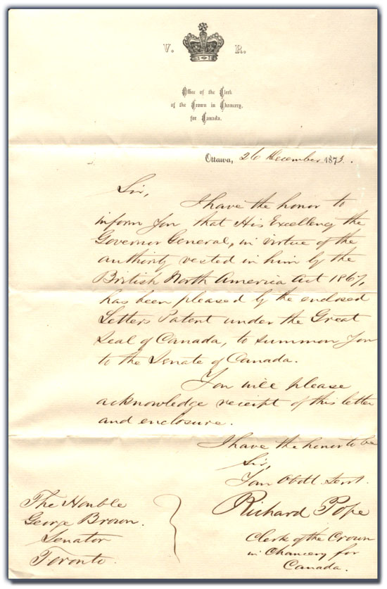 Letter from Richard Pope to George Brown, 26 December 1873