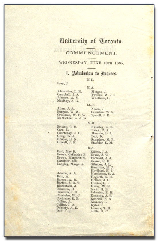 University of Toronto Commencement programme, 10 June 1885