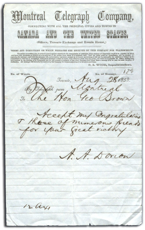 Telegraph from A.A. Dorion to George Brown, 28 August 1858