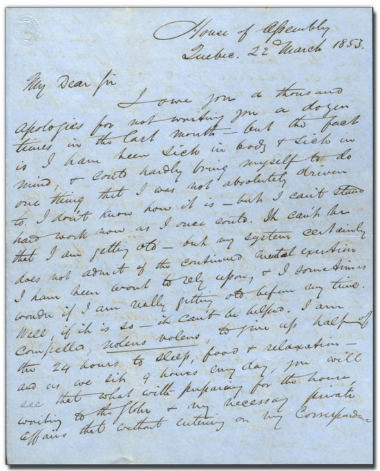 Lettre de George Brown à Archibald Young, 22 mars 1853