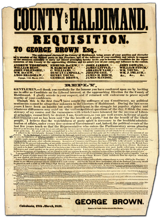 Haldimand County candidacy requisition poster for George Brown, 1851
