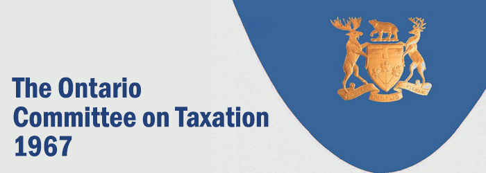 The Ontario Committee on Taxation - 1967 banner