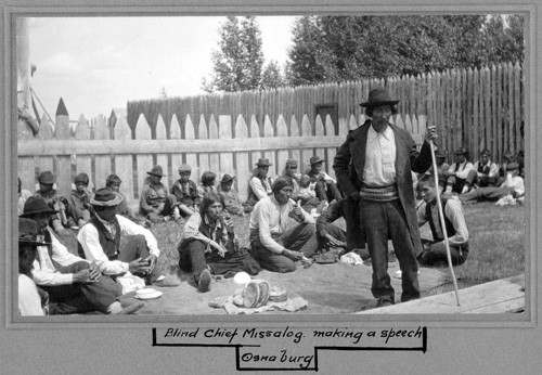 Blind Chief Missalog making a speech, Osnaburg, July 12, 1905