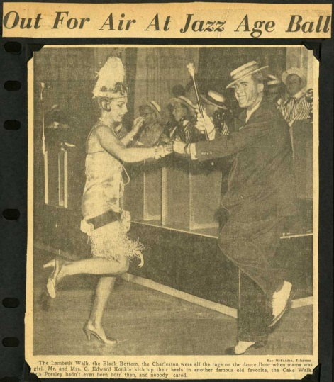 Ted and Eleanor dancing in 1920's costumes, [1961-1968]
